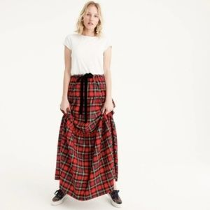 NWT J.Crew Tartan Plaid Tiered Maxi Skirt